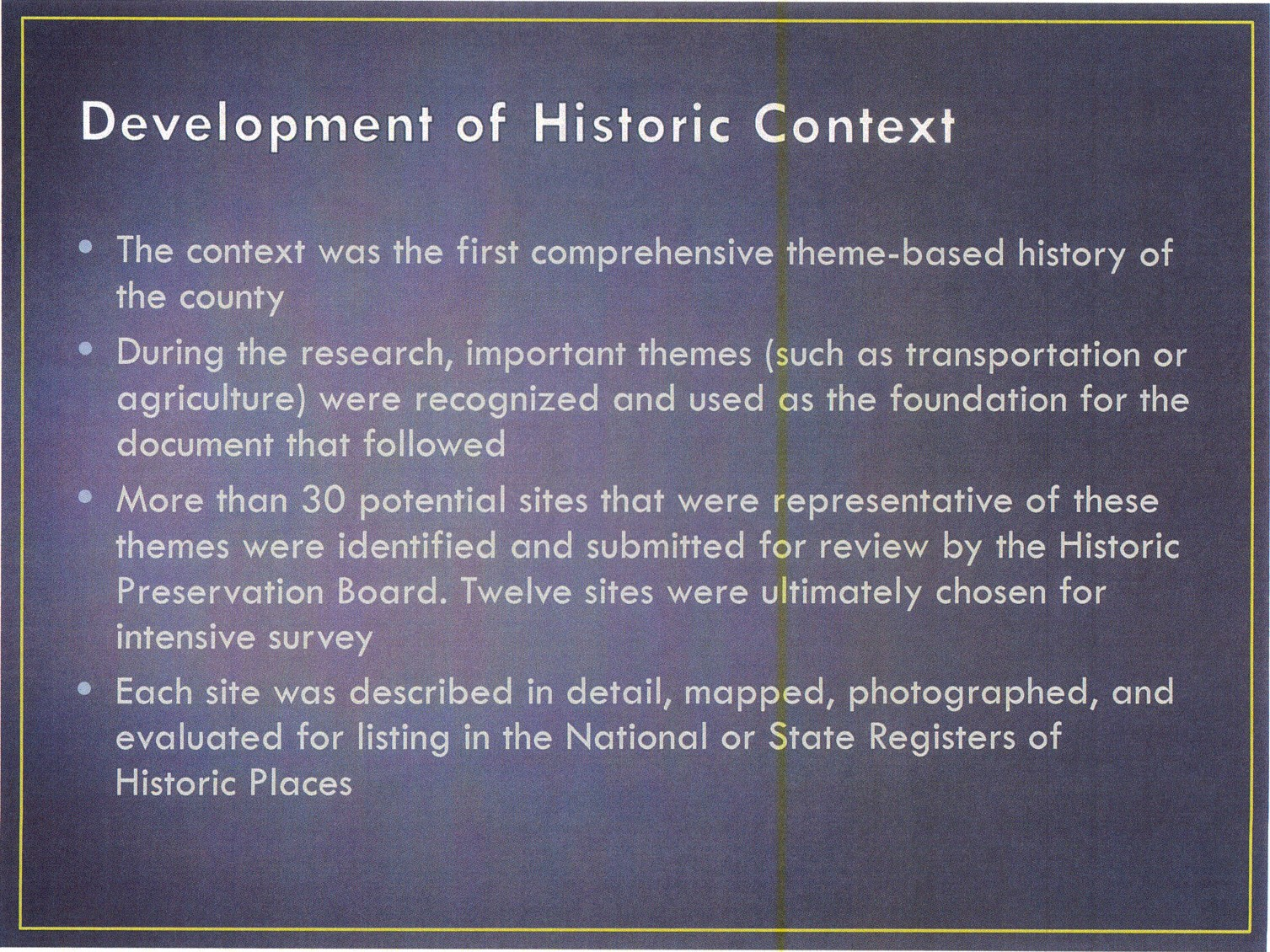 the historical development and context of
